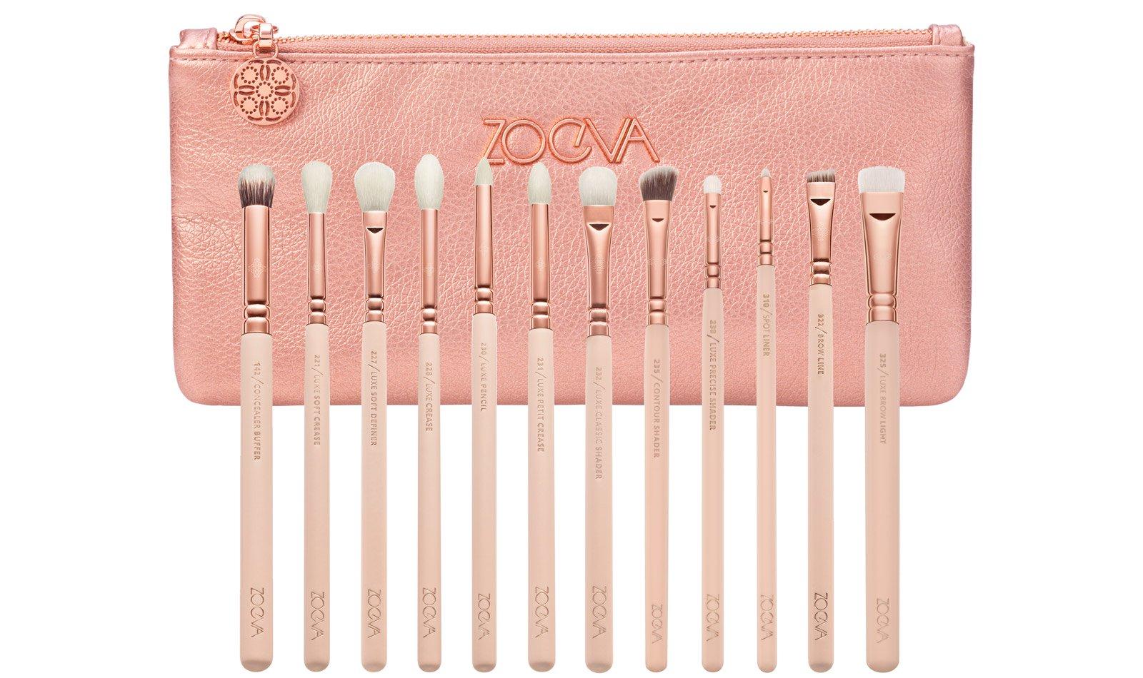 Zoeva Professional Makeup Brush Set With Purse - 12 Pcs