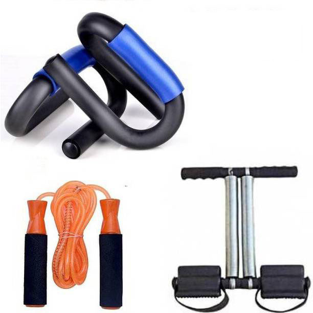 Fitness Accessories Combo Set, Yoga Mat, Skipping, Push Up Bar & Tummy Trimmer (Assorted Color)