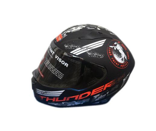 Studds Full Helmet  Black Grey (THUNDER)