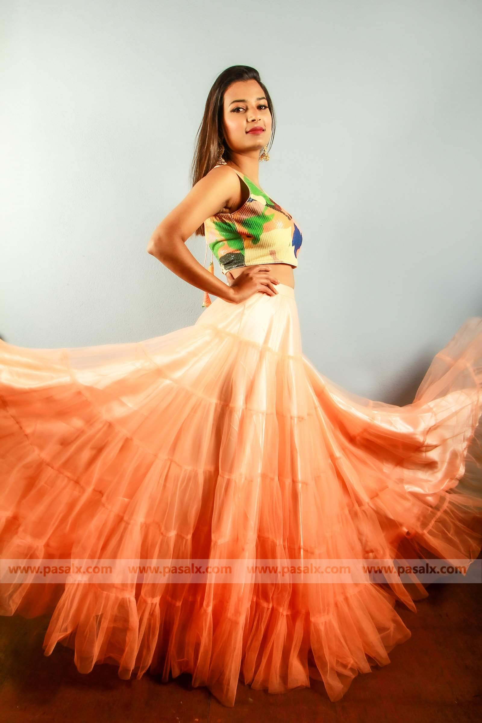 Light Orange Net Lehenga