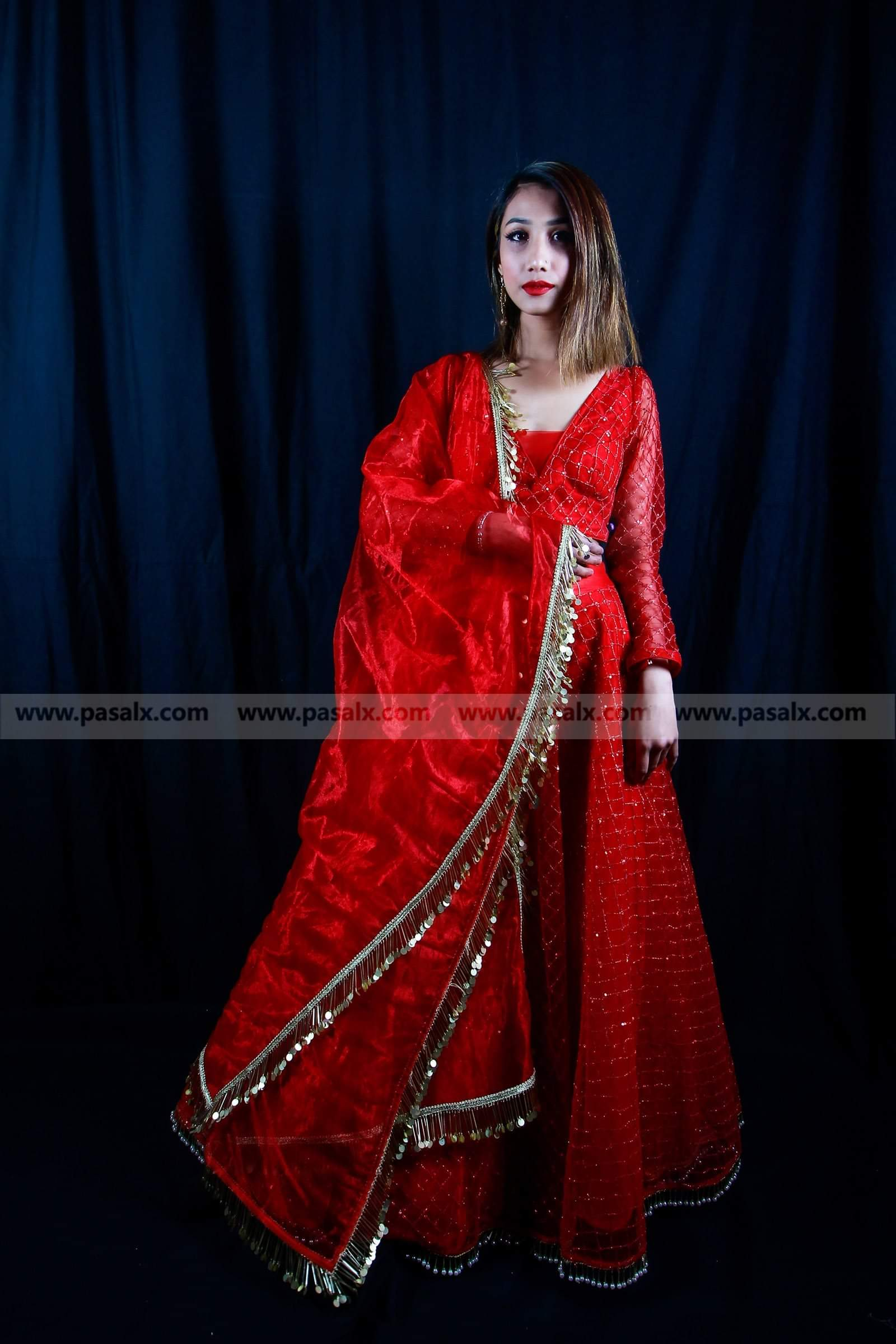 Red  Net Lehenga Choli With Weight Soul