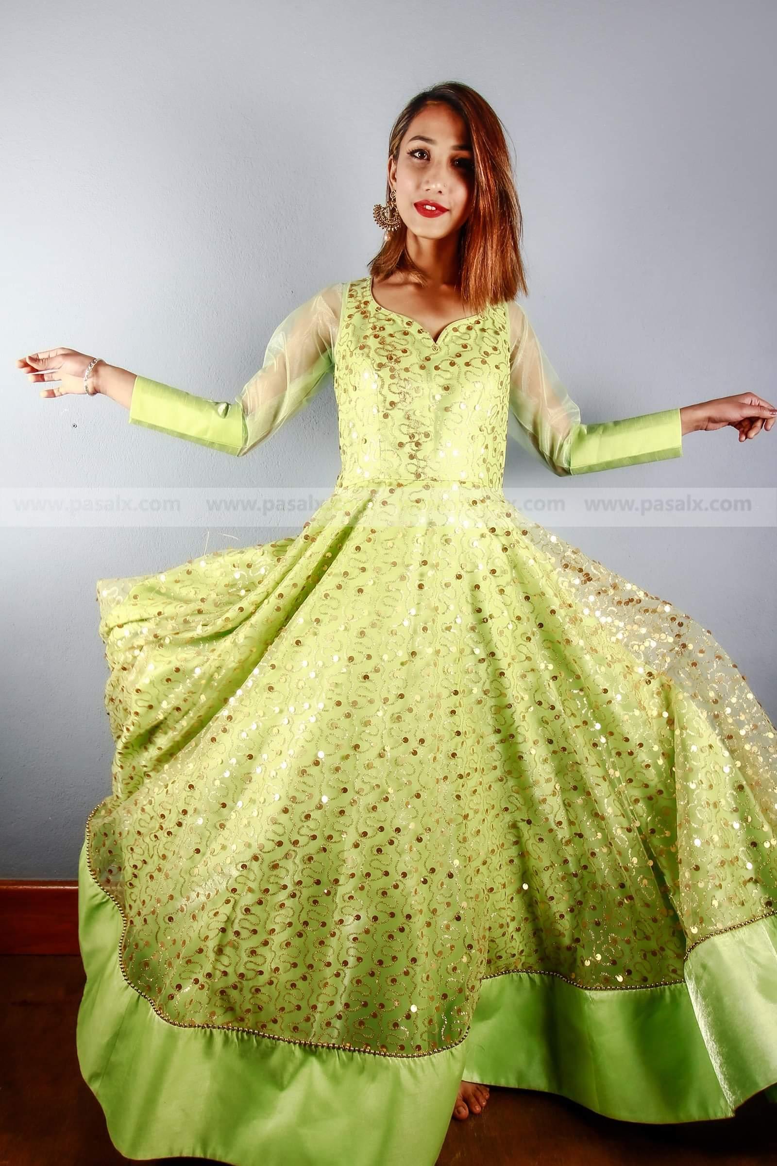 Sea Green Net Glitter Gown