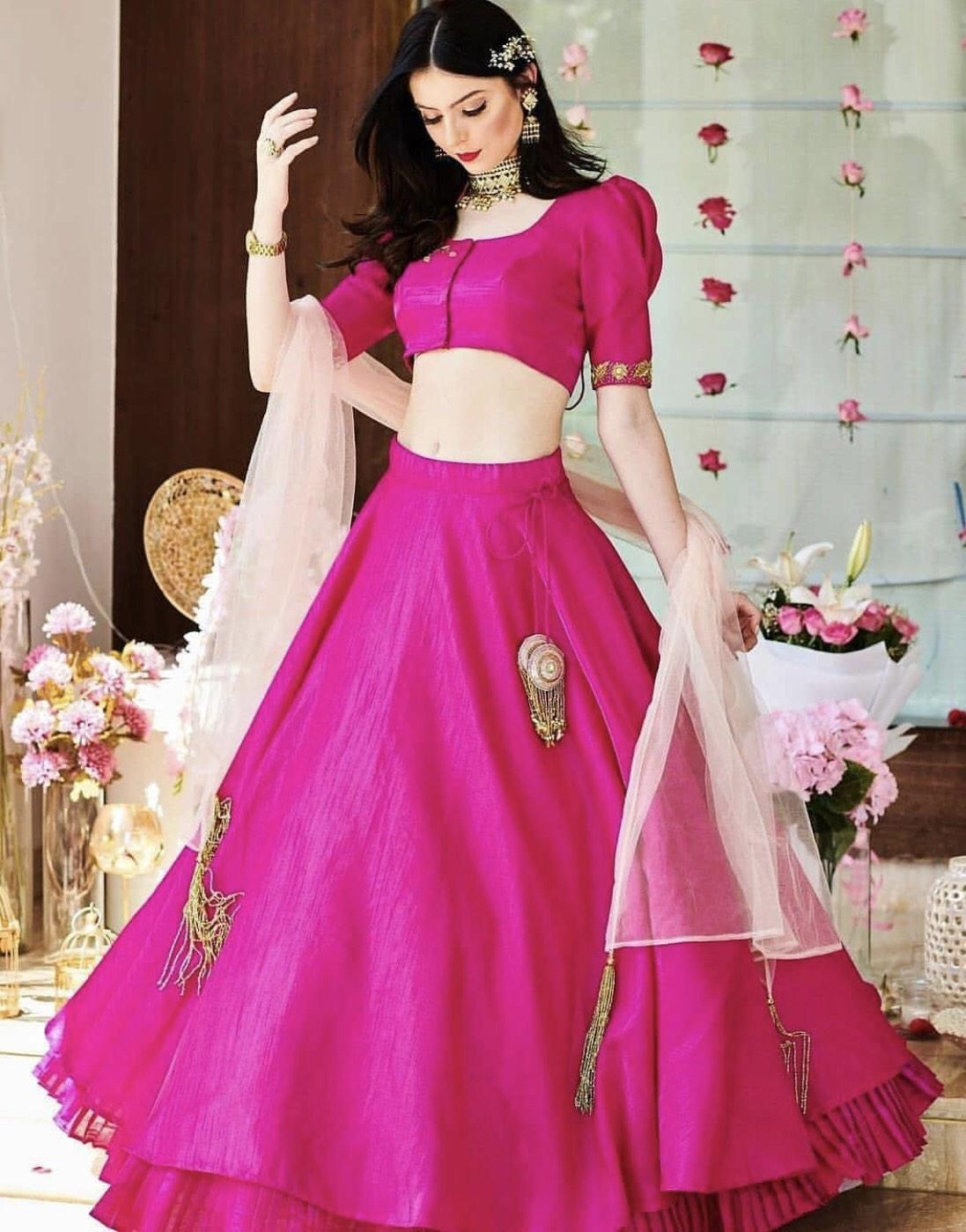 Pink Apple Silk Lehenga