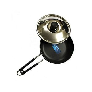 Devidayal Hard Anodised Frying Pan with Steel Lid- Induction Based