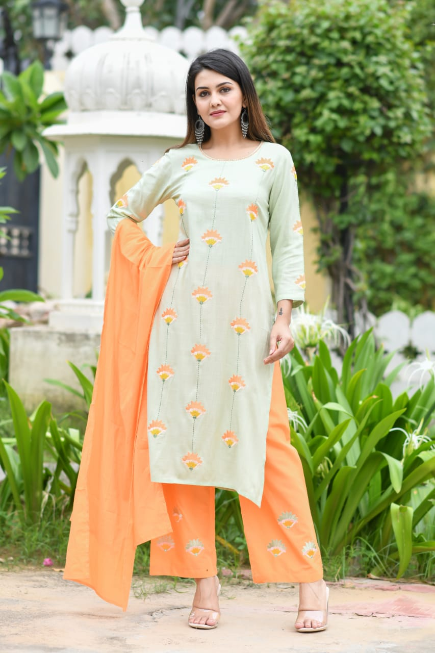 Light Green And Orange Trouser And With Embroidery Work Kurta Set