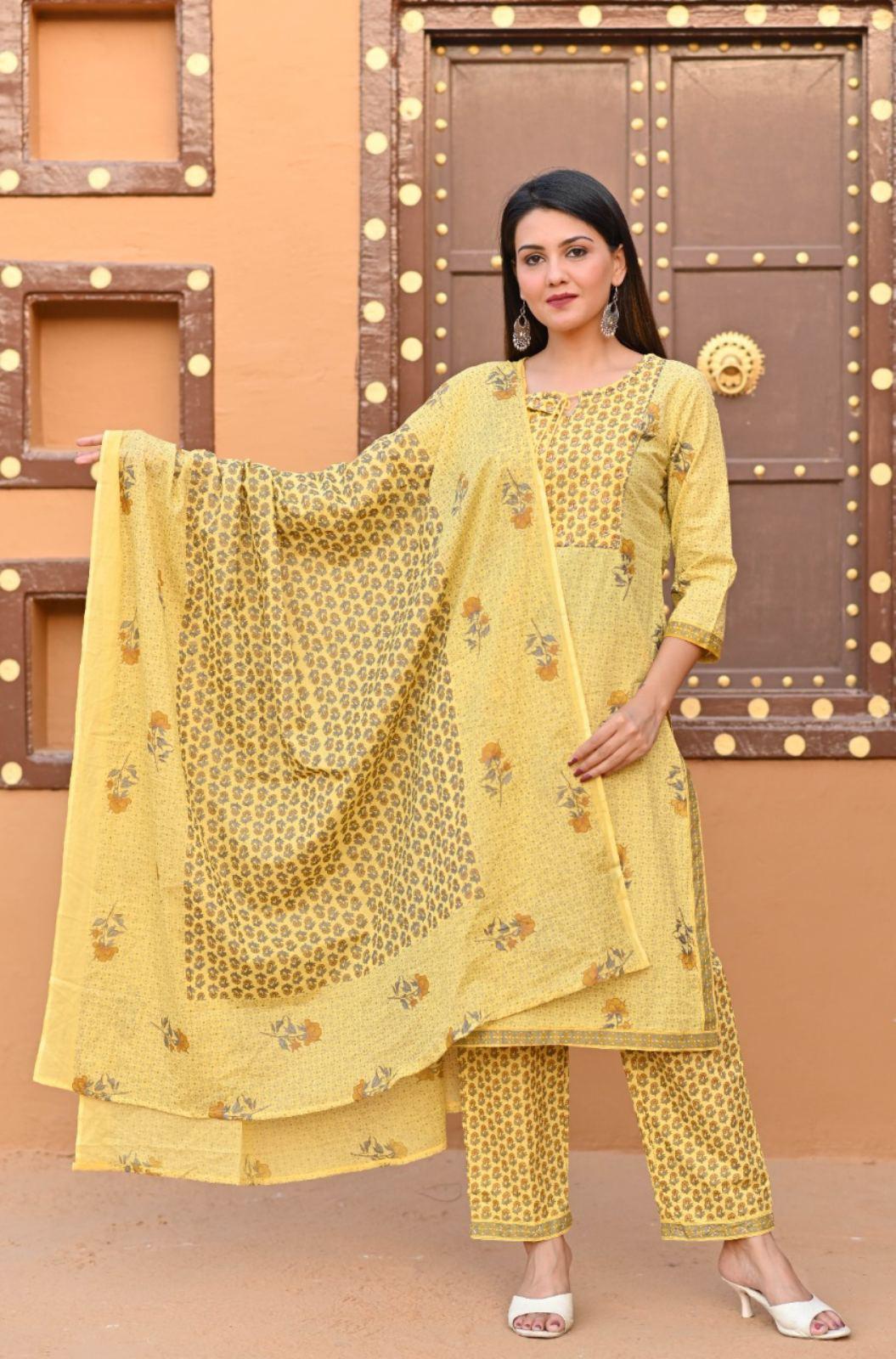 Yellow Printed With Handwork Kurthi And Pallazo With Duppatha Set