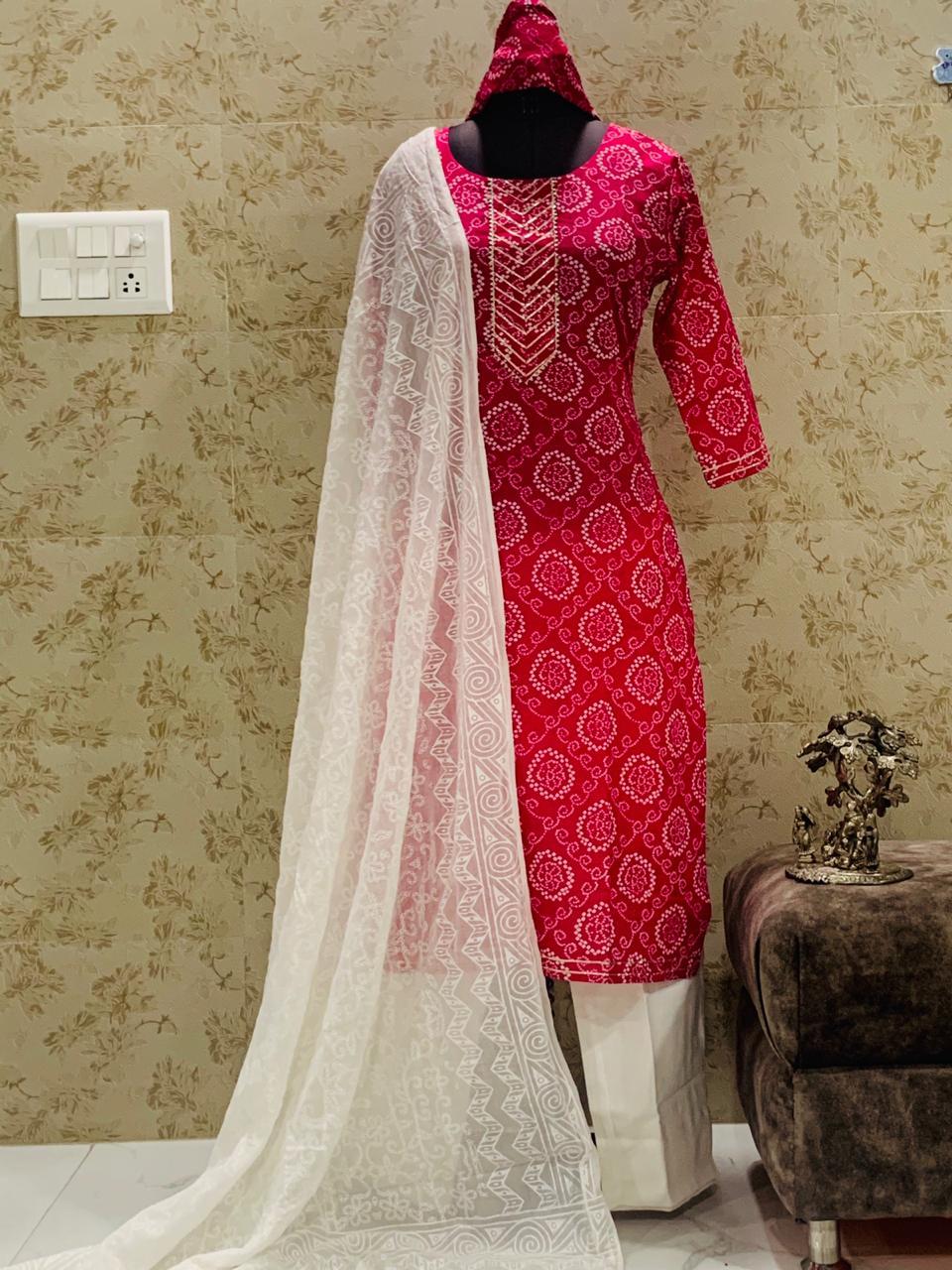 Bandhej Jaipuri Printed Pink With White  Pant And Duppatta Set