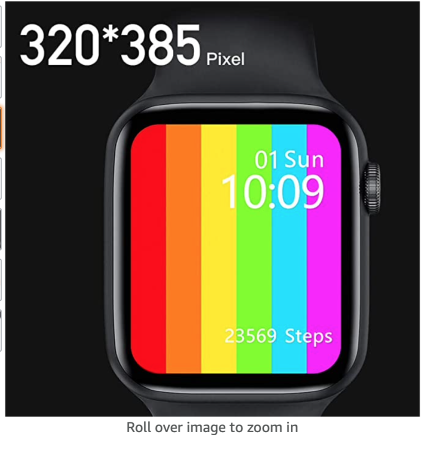 Smart Watch 6 Smartwatch 1.75 Inch Full Touch Screen IP68 Waterproof Heart Rate Blood Pressure Monitor