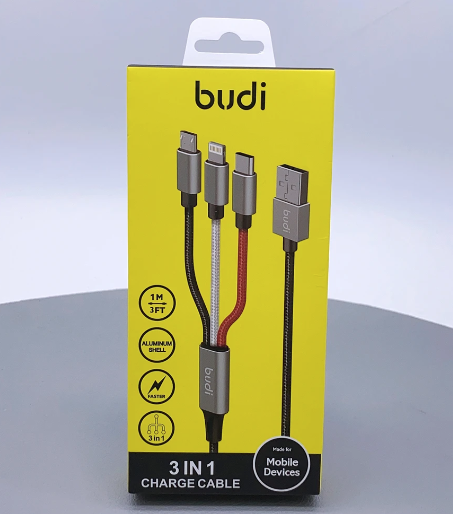 Budi 1 meter 3 in 1 charge cable DC203A8
