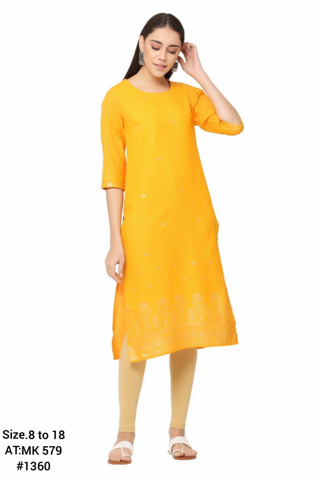 Prakhya Yellow Golden Printed Straight Kurtha