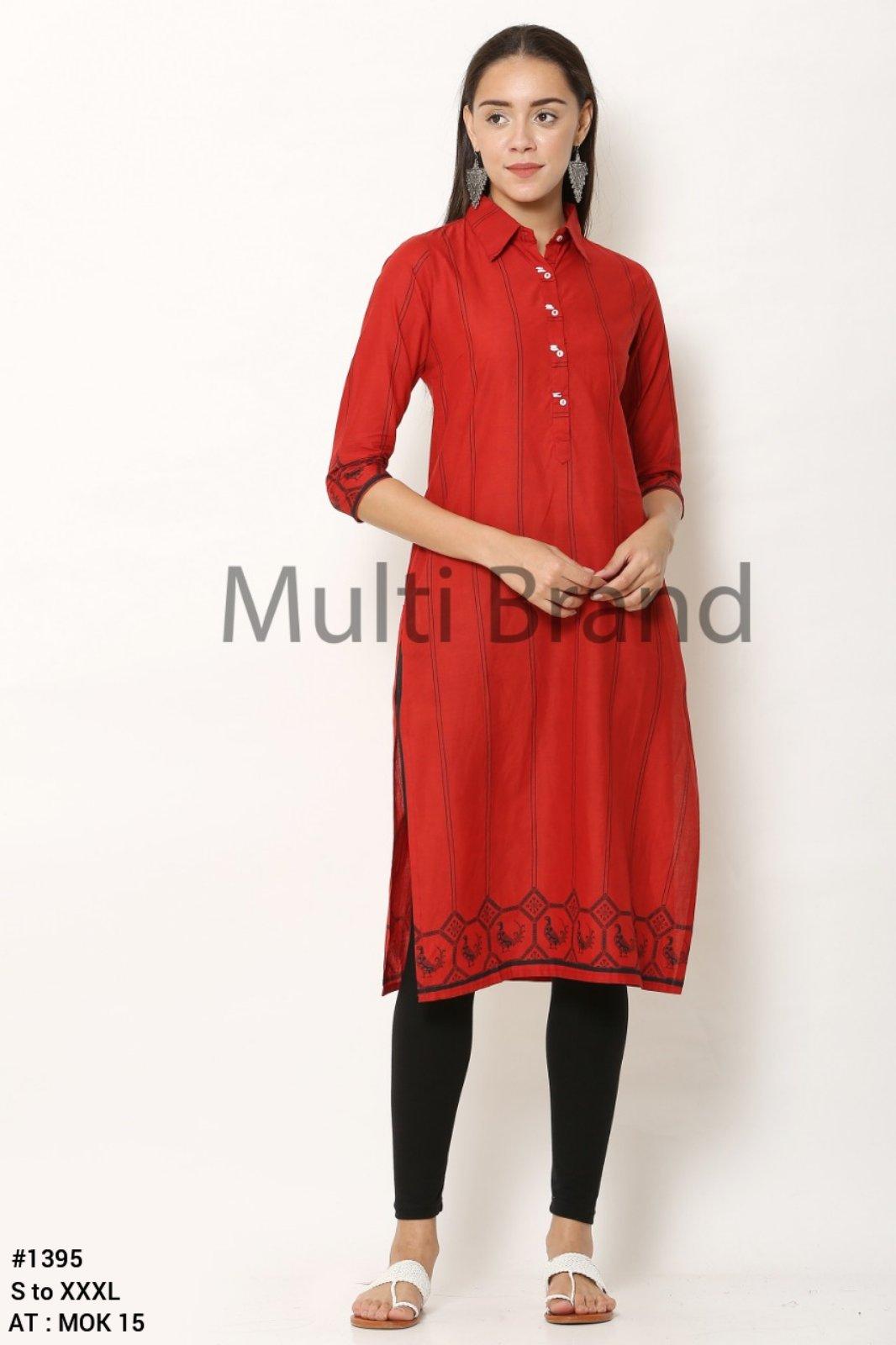 Red Printed Collar Design Kurti