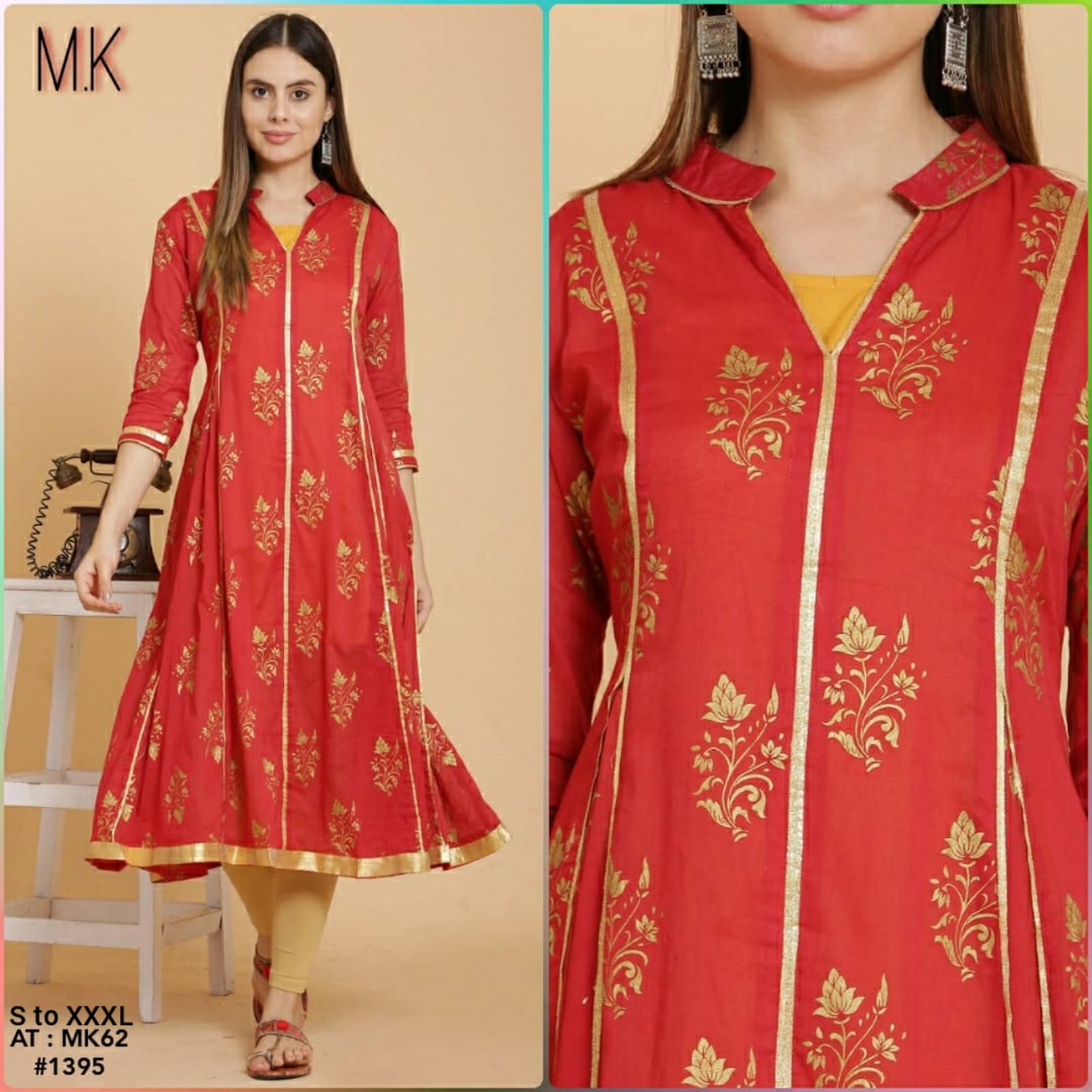 Red Printed Pure Cotton Straight Kurti