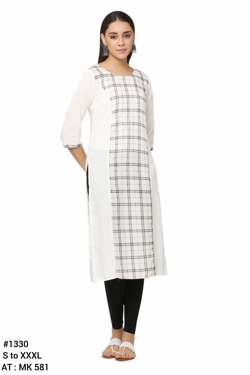 White Check Printed Straight Kurti For Women