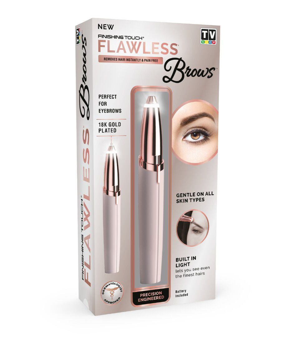 New Flawless Brows, Finishing Touch Flawless Brows Eyebrow Hair Remover, 18K Gold Plated Eyebrow Trimmer