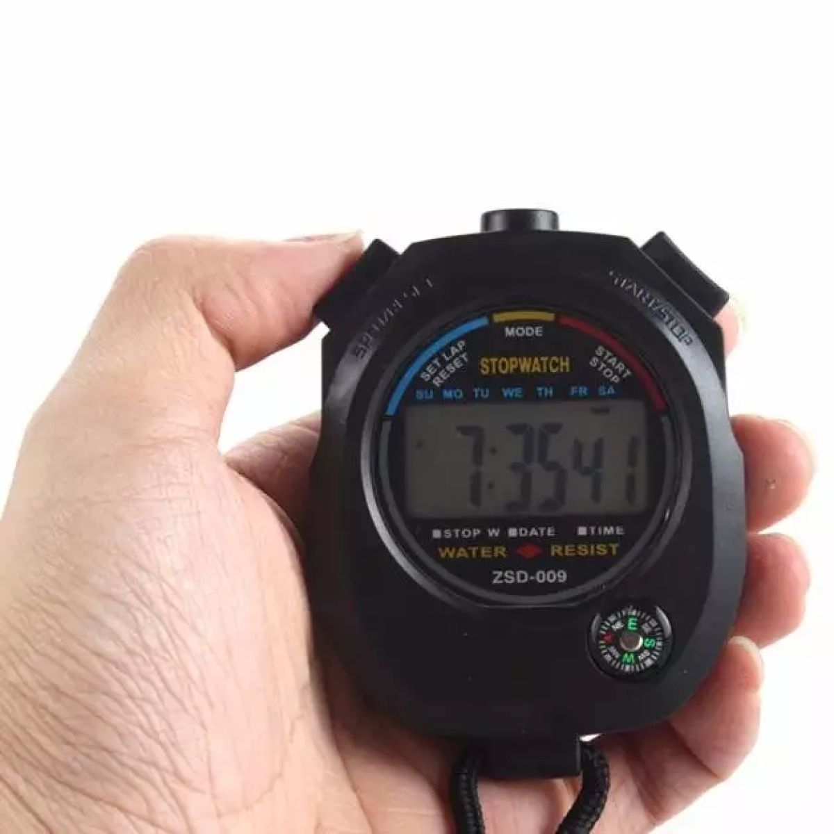 Black Digital Sport Stop Watch With Compass Kitchen Cooking, Sport, Classroom Timer Count Up Down Alarm Cooking Set Clock Multi-function