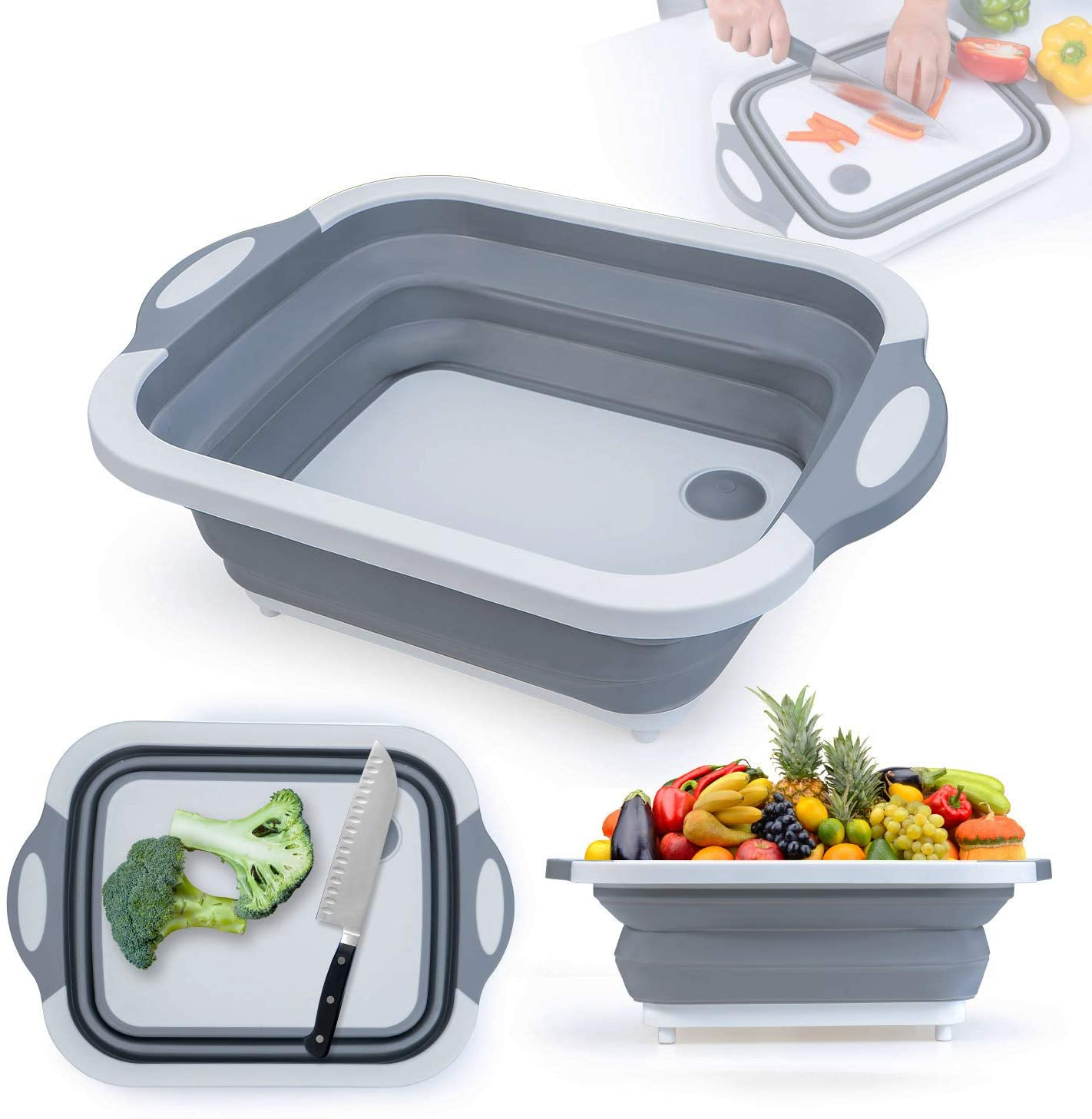Portable Cleaning Collapsible Dish Washing Bucket Chopping Board Foldable Basin Fruit And Vegetable Drainer Basket, Dish Washing Sink