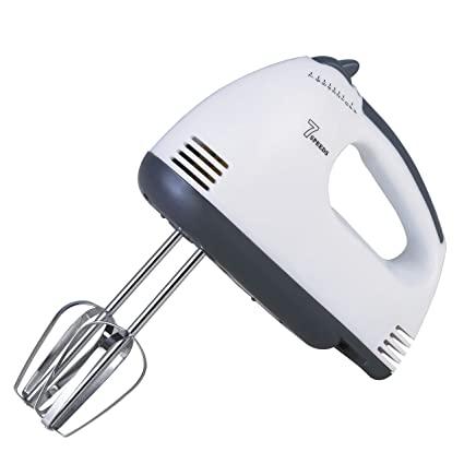 Scarlett 7-Speed Lightweight Hand Mixer With Chrome Beater + Dough Hook, White