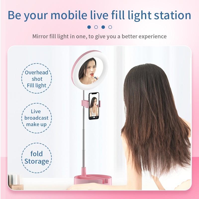 Mai Appearance Live Makeup Multipurpose Desk Lamp G3, 3In1 Dimmable LED Ring Light 6 Inch Folding Desktop Selfie Light Mirror Lamp