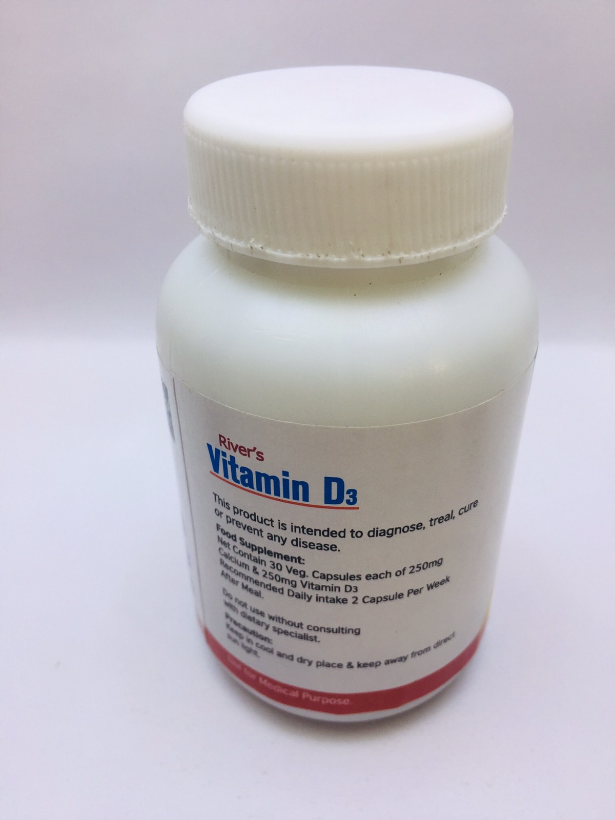 River's Vitamin D3-25Oo Iu With Calcium 500Mg, Calcium Supplement And Vitamin D3 Supplement, Bones And Skeletal Tissues Maintenance Essence,Bones Support, Height Growth Food Supplement