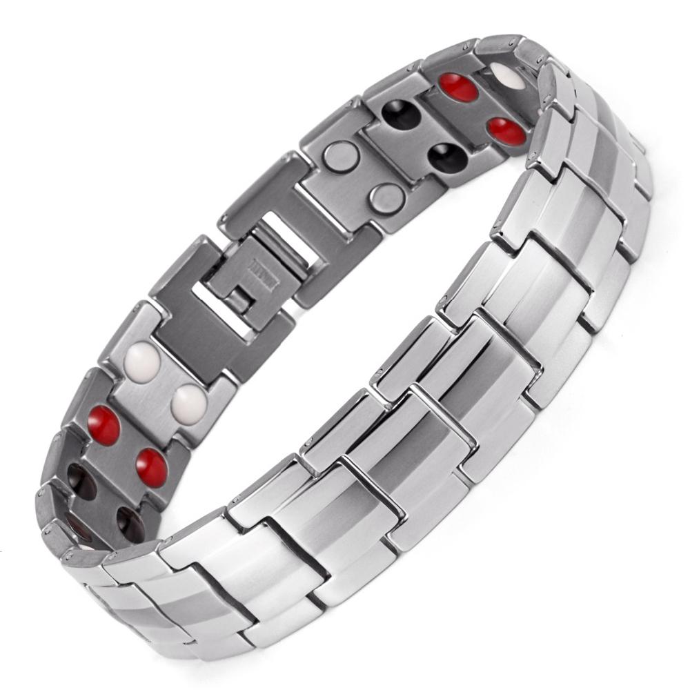 Original Stainless Steel 4In1 Silver Bio Magnetic Bracelet (Unisex)