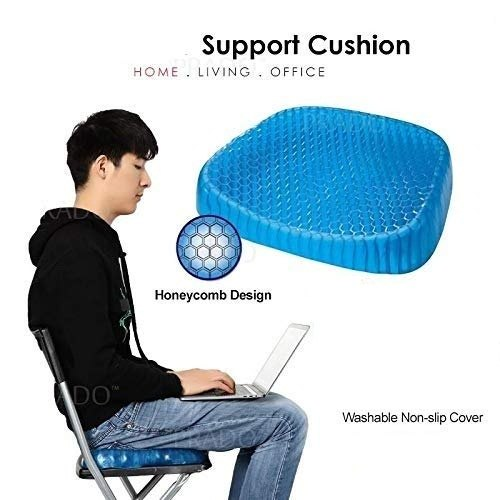 Silicone Gel Egg Sitter Cushion Seat Flex Pillow Soft Breathable Honeycomb Cushion Back Support Sit with Non-Slip Cover for HomeOfficeCarWheelchair