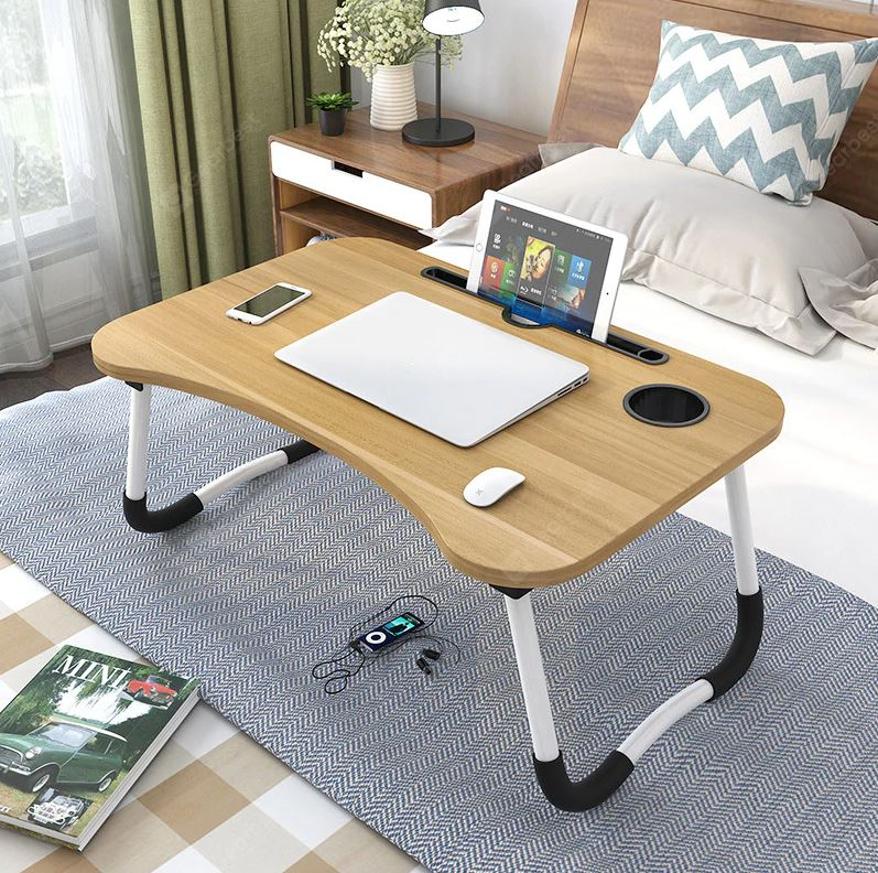 Multi-Purpose Laptop Table Stand/Study Table/Bed Table/Foldable and Portable/Ergonomic & Rounded Edges/Non-Slip Legs