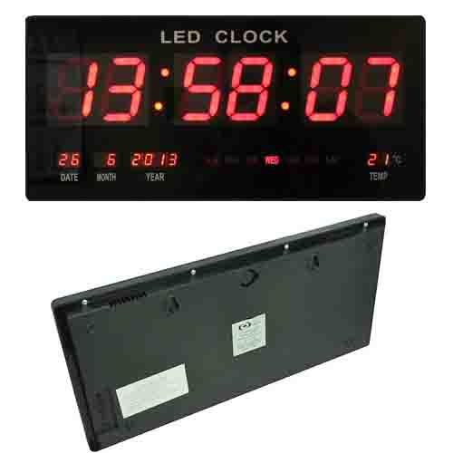 Large Digital Display Watch Led Wall Clock With Date And Temperature (Black)