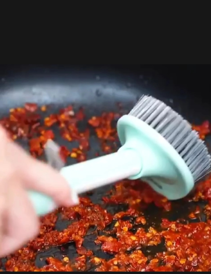 Dish Brush/ Scrubber with Handle & Soap Dispenser - Kitchen Brush for Pot/ Fry Pan