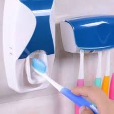 Automatic Toothpaste Dispenser Squeezer With Toothbrush Holder / Holds 5 Brushes