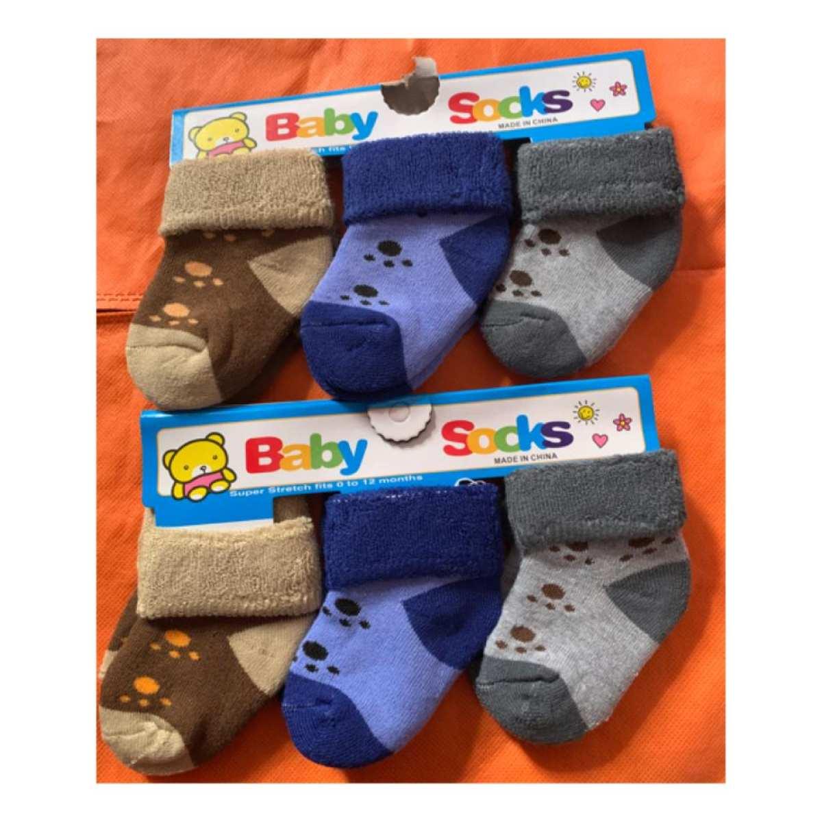 Socks Warm Socks for Baby Kids Soft Fleece Cotton Socks Combo of 3 (0-2 years)Color May Vary