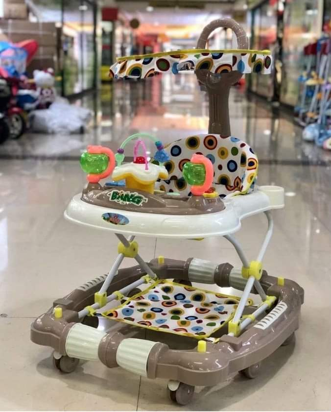 4 in 1 Baby Walker First Steps Push Along Bouncer Activity Musical Rocking Horse(Color May Vary)