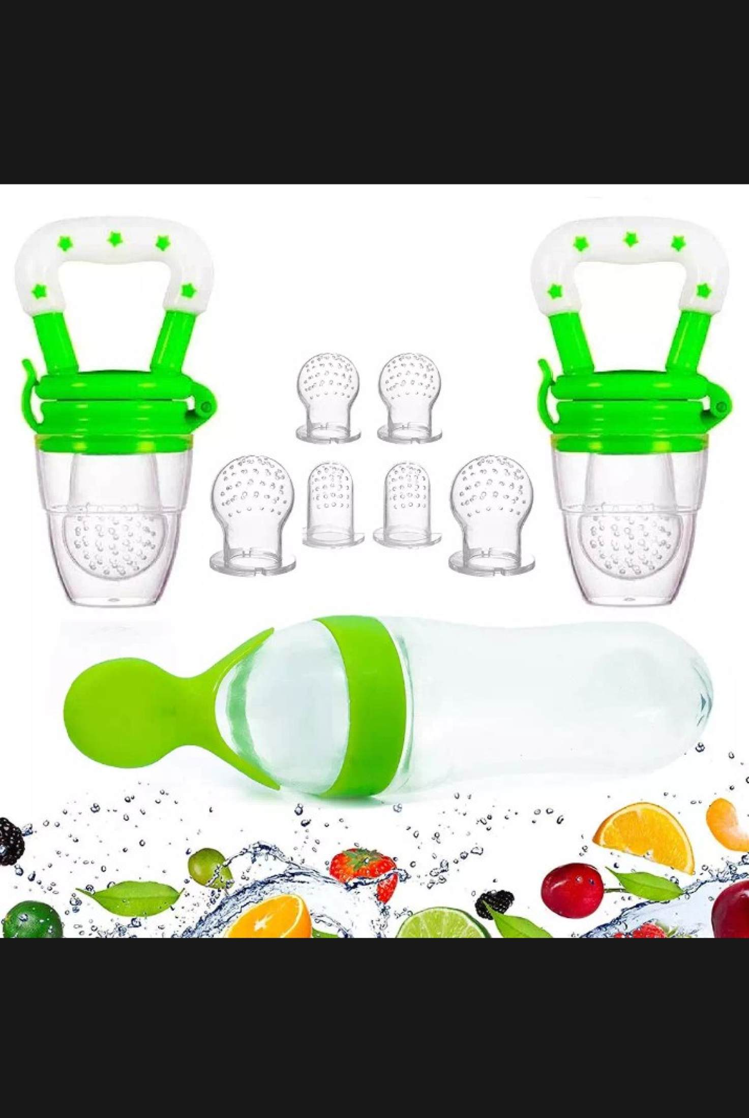 Combo 2 In 1 Silicon Baby Squeeze Spoon Food Feeder Bottle + Nipple Feeder Gift