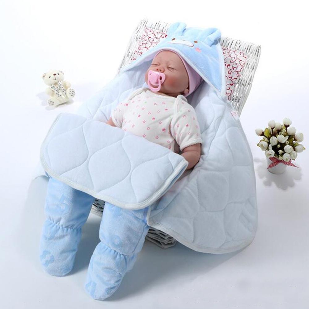 Blanket Sleeping Bag Warm Mat With Soft Blend Cotton For Newborn Babies Infants Blue