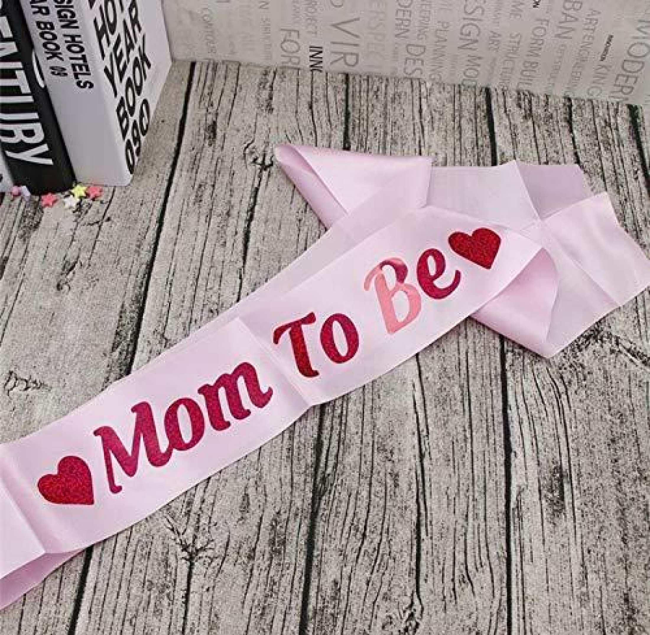 """1 Pc Pink Baby Shower Satin Ribbon 'Mom To Be Sash' Shoulder Strap, Showing Words """"Mom To Be"""" Party Props"""