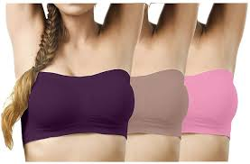 Womens Tube Top/Tube Bra With Detectable Pad, Strapless, Seamless (Free Size 28-To-36) Many Colors