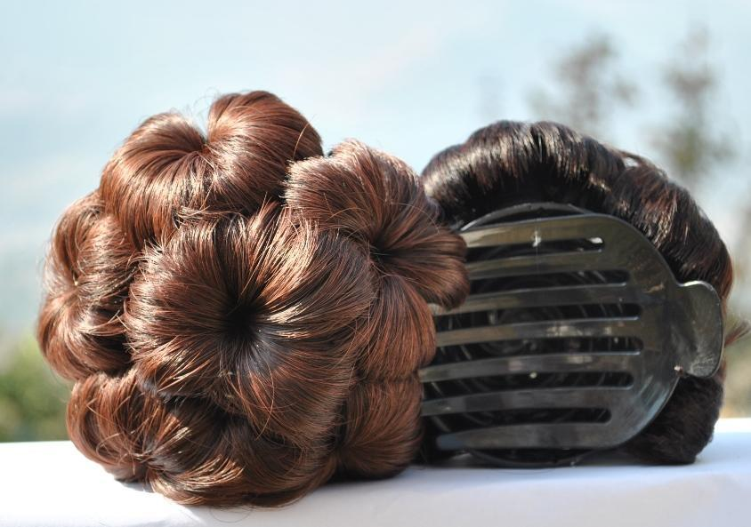 Flowers Bud Design Hair Extension Bun Bands with Insert Comb Clip for Women ( Brown )
