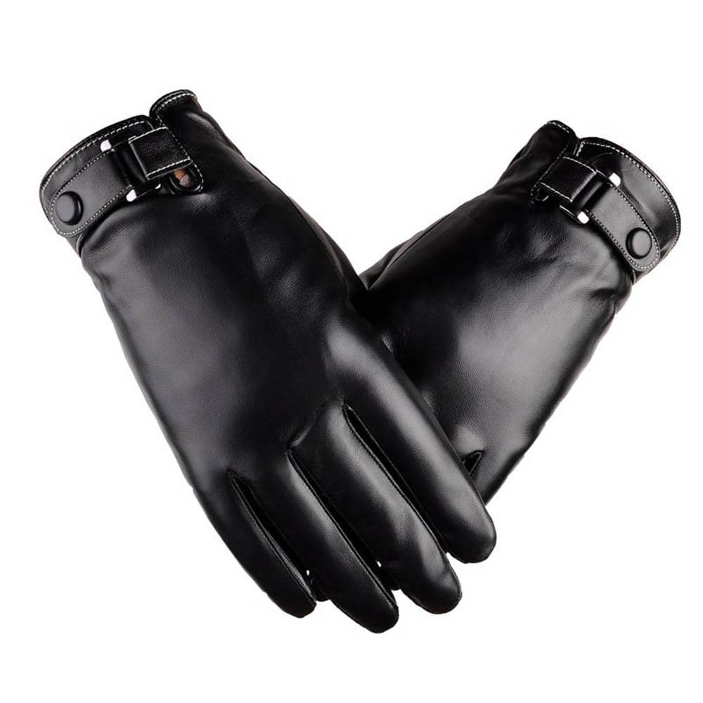 Men Leather Pu Driving Gloves-Black