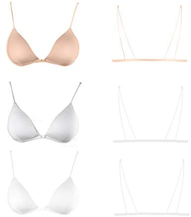 Bralette For Women Women Teens Triangle V Neck Bra A-B Cups Strappy Removable Training Bra Padded Wire Free Front Open