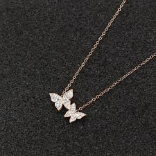 Double Butterfly Rosegold Necklace For Women
