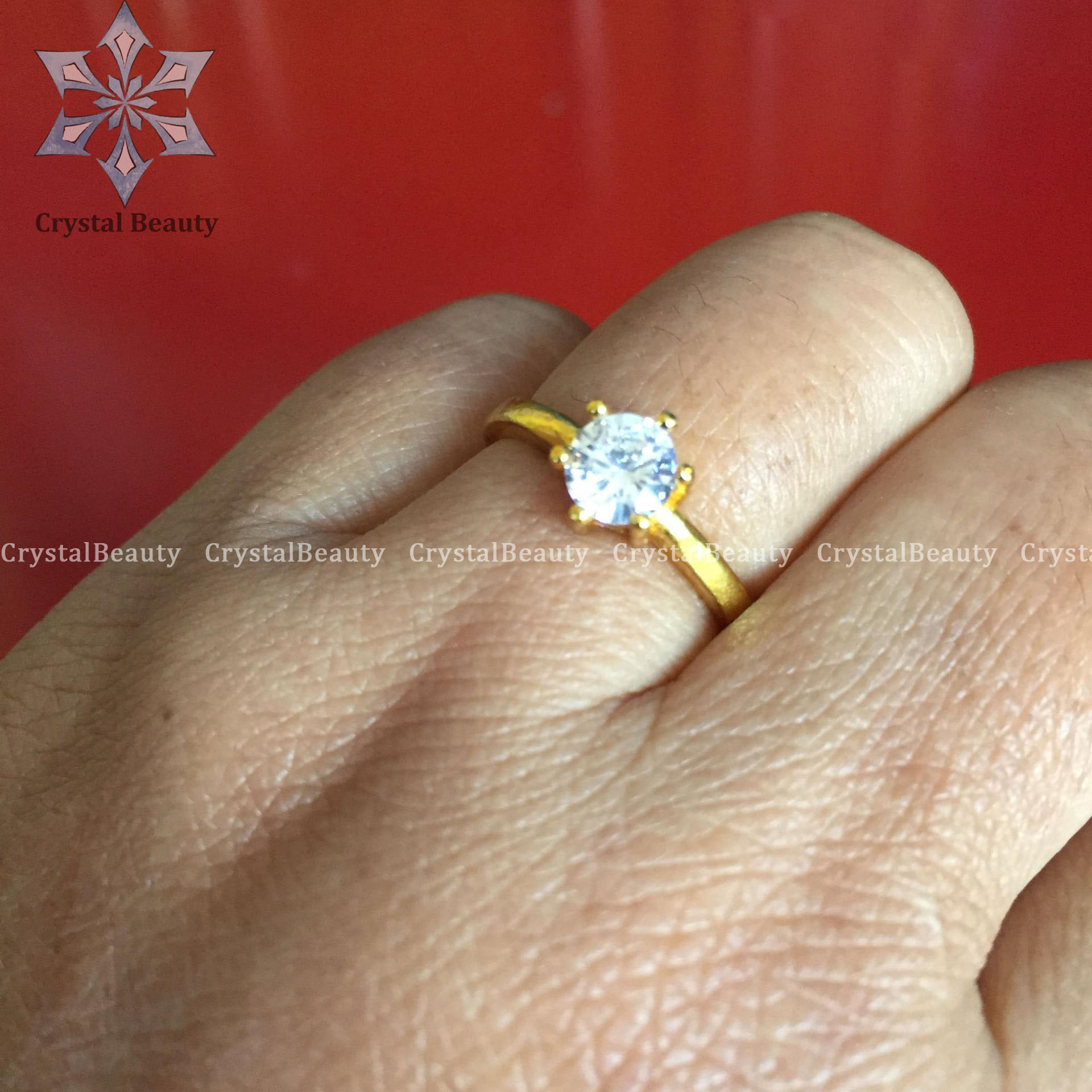 Gold Plated Ring With White Stone For Women(Panchadhatu)