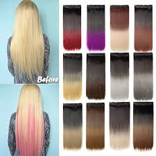 Long Straight Synthetic Hair Extension Piece 5 clips 2 Feet long