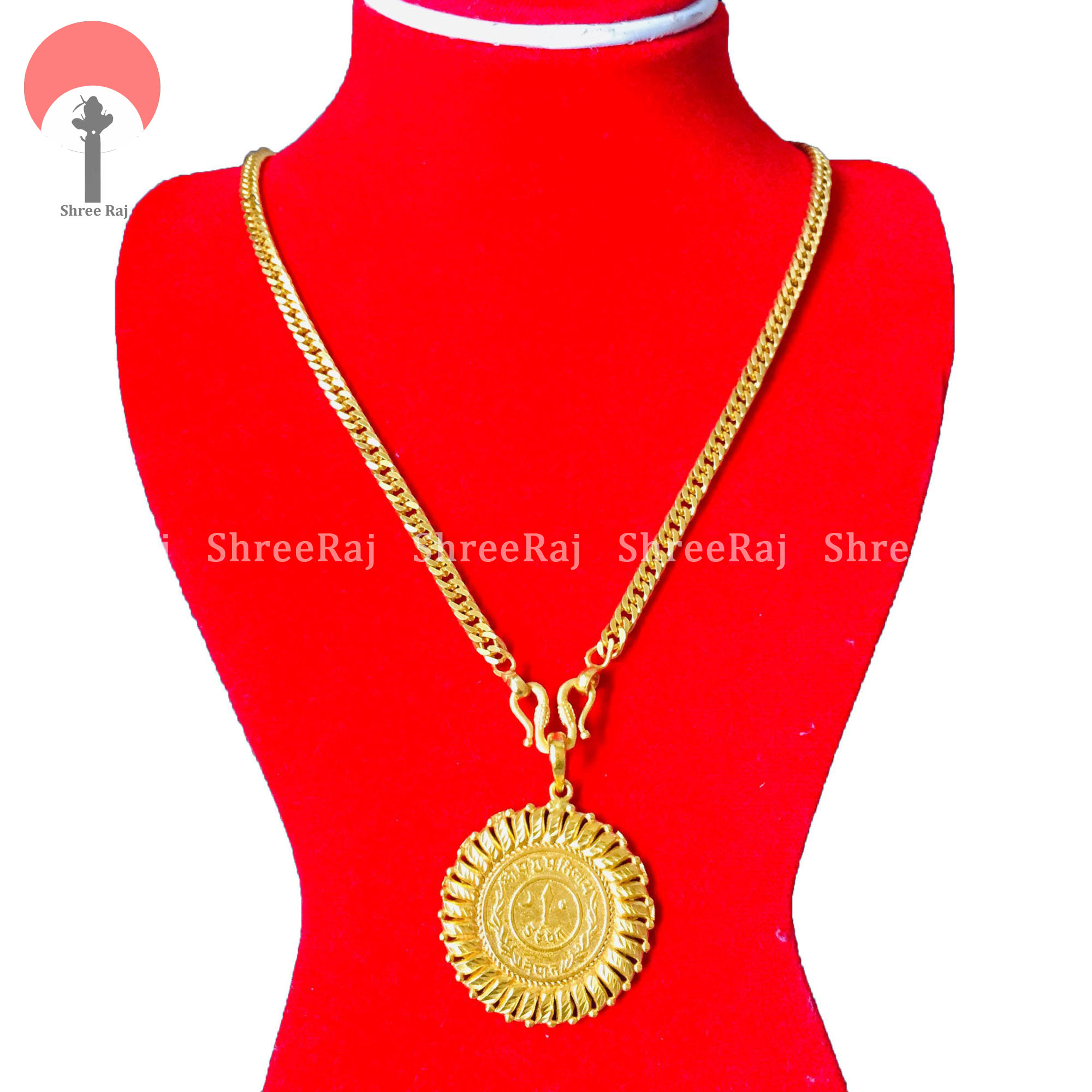 Gold Plated Chain With Gold Coin Locket For Women(Panchadhatu)