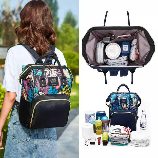 Diaper Bag Backpack - Printed Multifunction Waterproof Travel Backpack Maternity Baby Nappy Changing Bags