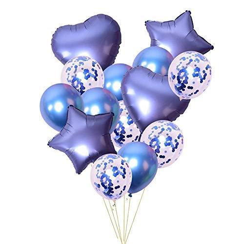 The golden store Confetti, Chrome and foil Balloons Combo of 14 pcs (Golden) - (Confetti Balloons 5 Pcs + Metallic Balloons 5 Pcs + Heart Foil Balloons 2 Pcs + Star Foil Balloons 2 Pcs