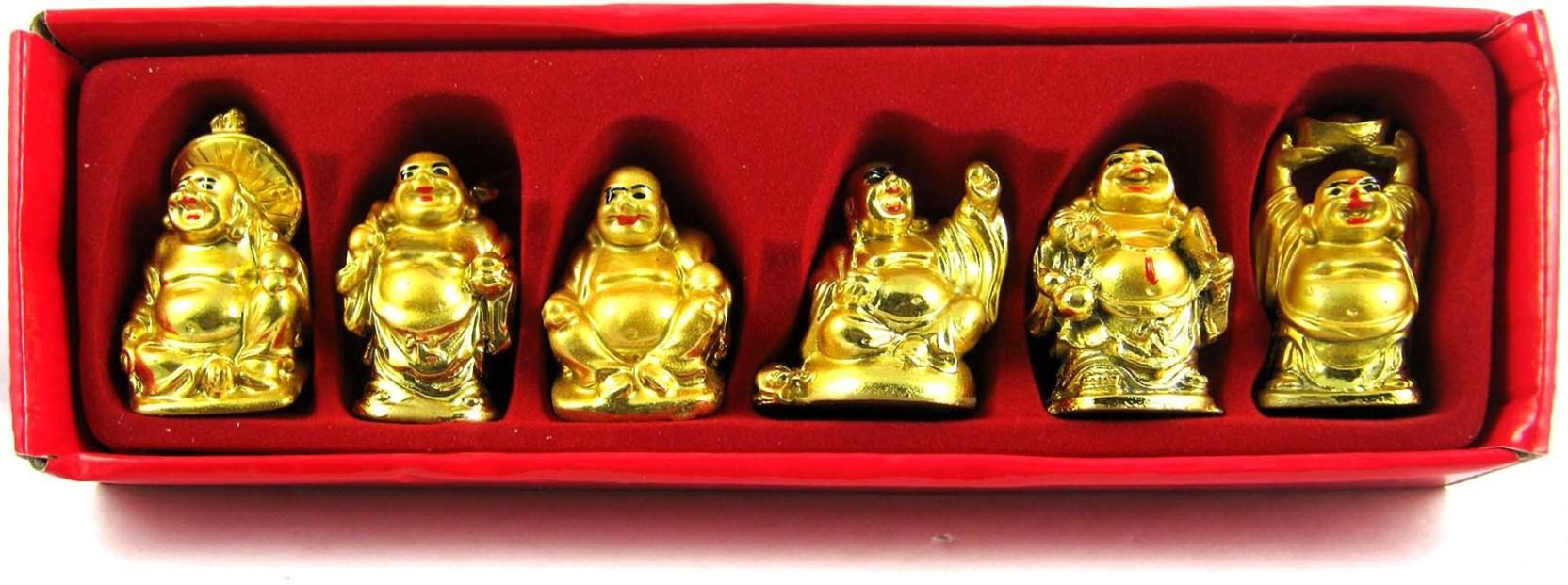 6 In 1 Vastu Feng Shui Golden Set Of Laughing Buddha 6 Pcs Set