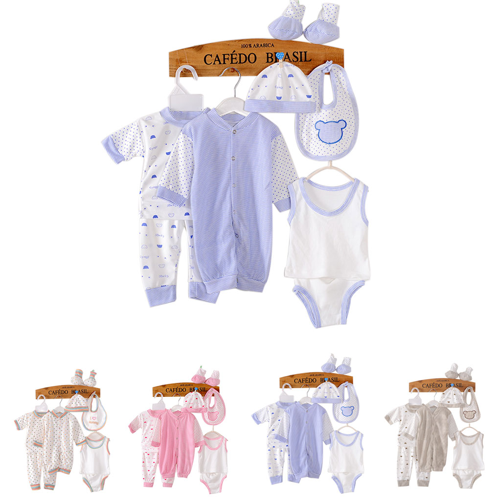 8 Pcs Newborn Kids Baby Cotton Clothing Infant Boy Clothes Outfits Tops and Pants Set (Design May Vary)