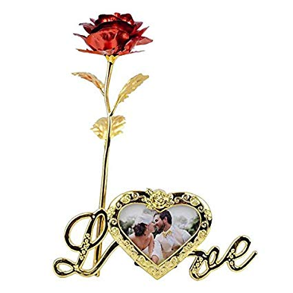 Gold Foil Trim Gold Artificial Rose Flower Long Stem With Love Photo Frame Stand