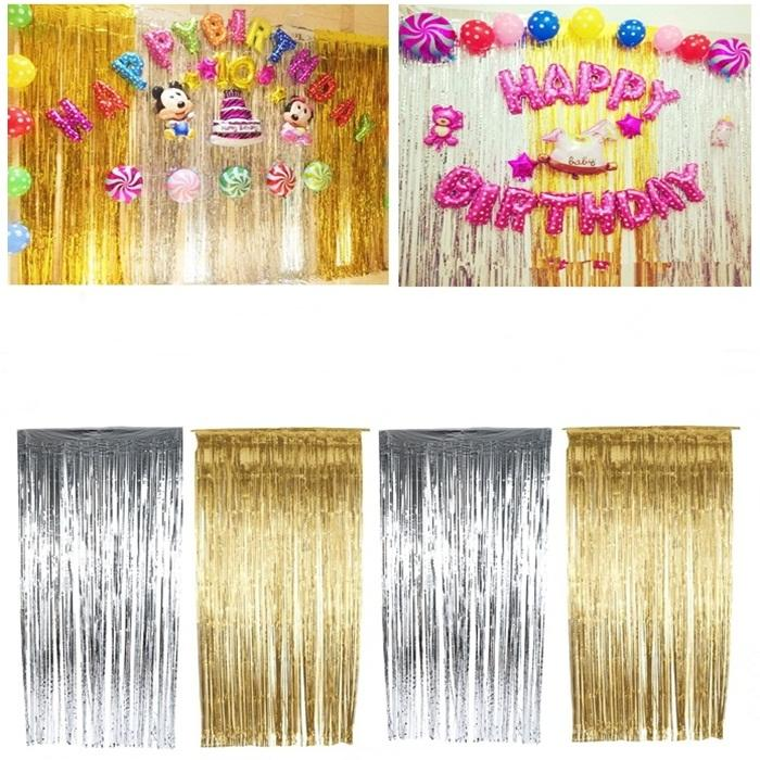 4 Pieces Foil Curtain Backdrop For Wedding Birthday Stage Decoration