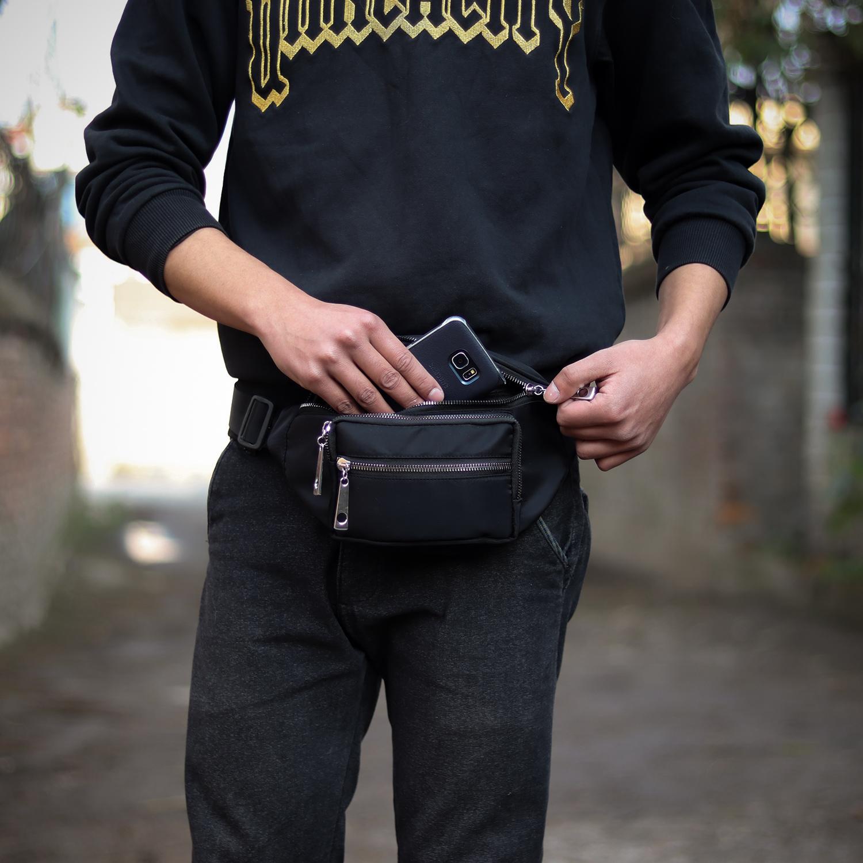 Waist Bag Mobile Bag Waist Money Bag Fashion PU Leather Belt Bum
