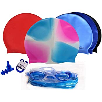 Unisex Combo Of Silicone Swimming Cap, Goggles And Ear Plug, (Colour May Vary)